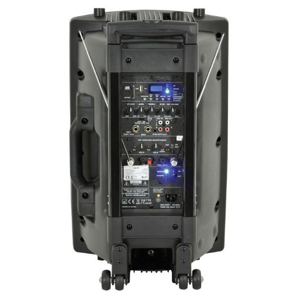QTX QR15PA PA Dj Active 250W Speaker + Usb + Sd + 2 Radio Mics + Cover + Stand